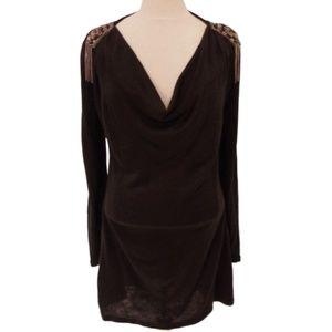 QED London Black Knit Tunic w/Shoulder Epaulets